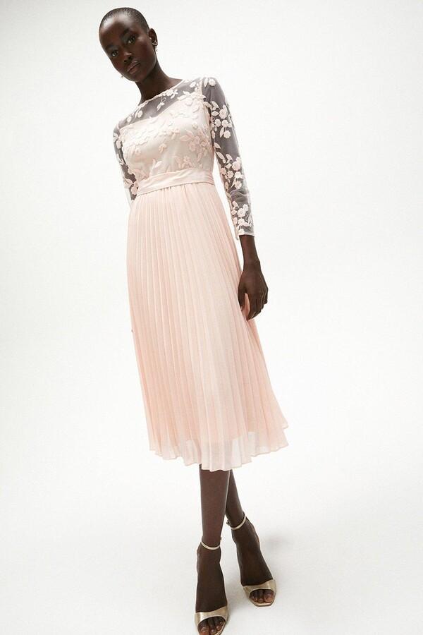 Coast Embroidered Long Sleeve Midi Dress