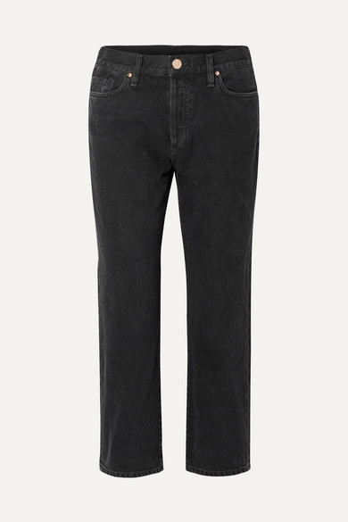 Gold Sign The Low Slung Cropped Mid-rise Straight-leg Jeans - Black