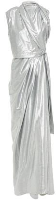 Rick Owens Draped Metallic Twill Wrap Gown