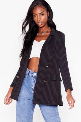 Nasty Gal Womens Pinstripe Down to Business Tailored Blazer - Black