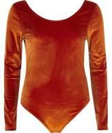 River Island Womens Orange velour long sleeve scoop neck bodysuit