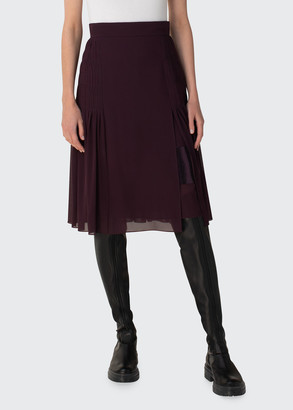 Akris Pleated Silk Georgette Skirt
