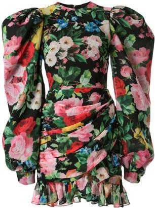 Richard Quinn Floral Mini Wrap Dress