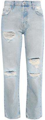 Current/Elliott The Original Distressed High-rise Straight-leg Jeans