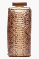 Lanvin Brown Snakeskin Vertical Minaudiere Box Clutch