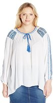 NY Collection Women's Plus-Size Embroidered Long-Sleeve Top