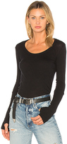 Enza Costa Cashmere Fitted Scoop Tee in Black. - size 1 / S (also in 2 / M,3 / L)