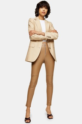 Topshop Womens Tan Skinny Biker Faux Leather Pu Trousers - Tan