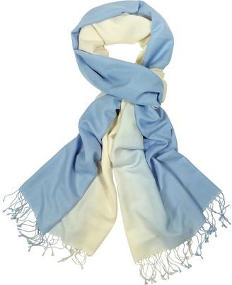 Forzieri Cream/Light Blue Pashmina and Silk Fringed Shawl