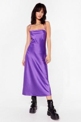Nasty Gal Womens Cowl's It Hanging Satin Midi Dress - Purple