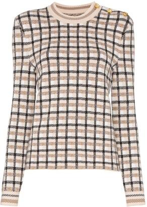 Paco Rabanne Button-Shoulder Check Jumper