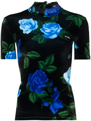Richard Quinn Floral-Print Short-Sleeve Top