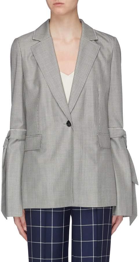 Roland Mouret 'Wollaston' sash tie split sleeve virgin wool-silk houndstooth blazer