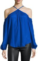 Karina Grimaldi Santina Cold-Shoulder Long-Sleeve Top, Blue