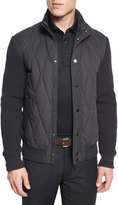 Ermenegildo Zegna Quilted Ribbed-Sleeve Down Jacket, Gray