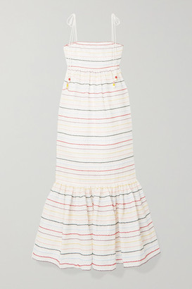 Zimmermann Zinnia Embroidered Cotton-voile Midi Dress - Off-white