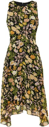 Wallis PETITE Black Floral Print Hanky Hem Dress
