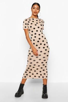 boohoo Spot Crew Neck Midaxi Dress