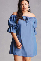 Forever 21 FOREVER 21+ Plus Size Chambray Mini Dress