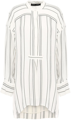 Proenza Schouler Distressed Striped Crepe Blouse