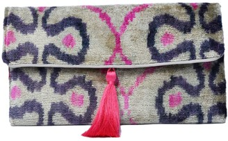 Punica Pretty Grey & Pink Velvet Ikat Clutch
