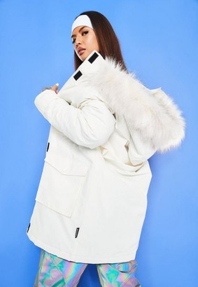 Missguided White Msgd Ski Faux Fur Padded Parker Coat