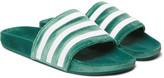 adidas Adilette Striped Velvet Slides - Green