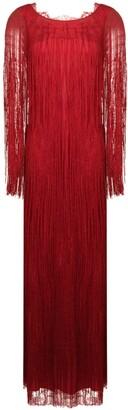 Alberta Ferretti fringed detail evening dress