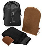 Luxury Tanning Mitts (Gift 3 Pk) Large Double Sided Body Applicator Glove, Small Face Mitt, Exfoliating Tan Remover Mitt by VIDI