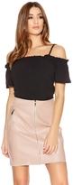 Quiz Nude PU Zip Front Bodycon Mini Skirt