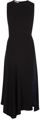 Vince Black panelled midi dress