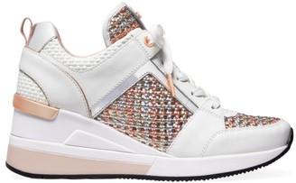 MICHAEL Michael Kors Georgie Metallic Woven Leather Wedge Sneakers