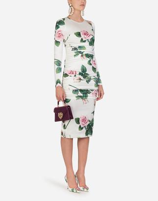 Dolce & Gabbana Tropical Rose Print Silk Longuette Dress