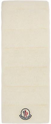 Moncler White Shearling Logo Scarf