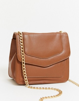 Urban Code Urbancode leather cross body bag with gold clasp in tan