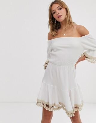 Asos DESIGN tassle off shoulder mini smock dress