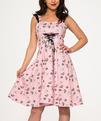 Hearts & Roses London HEARTS & ROSES LONDON Women's Special Occasion Dresses Pink - Pink Skull Corset-Front Sleeveless Fit & Flare Dress - Women