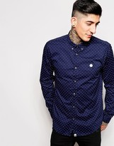Pretty Green Shirt In Regular Fit with Polka Dot Print