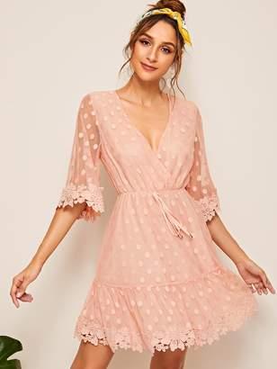 Shein Plunging Guipure Lace Trim Polka Dot Flippy Dress