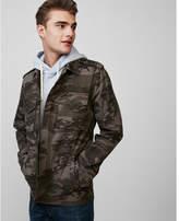 Express button front camo shirt jacket