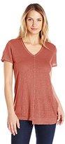 Wilt Women's Short-Sleeve Shrunken Shifted Deep-V Repeat T-Shirt