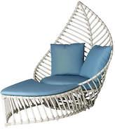 David Francis Furniture Palm Outdoor Chair & Ottoman Set - Blue