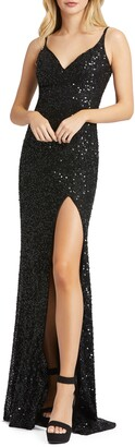 Mac Duggal Bustier Sequin Column Gown