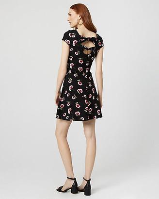 Le Château Floral Print Cotton Blend Open Back Dress