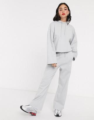 Nike Premium high waist wide leg grey joggers