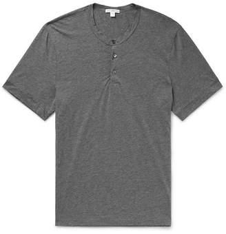 James Perse Melange Cotton And Cashmere-Blend Henley T-Shirt