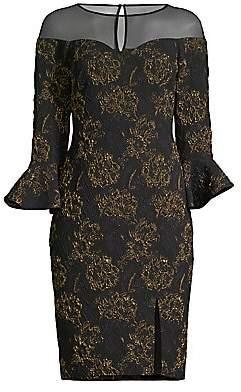 Aidan Mattox Women's Jacquard Floral Illusion Sheath Dress - Size 0