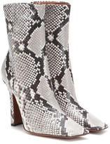 Vetements Boomerang snake-effect leather ankle boots