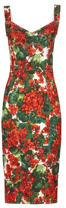 Dolce & Gabbana Geranium-print Pannelled Midi Dress - Womens - Red Multi