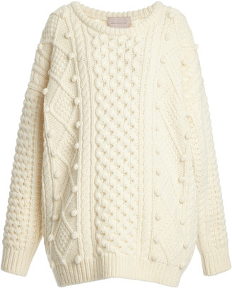 Christopher Kane Pom-Accented Wool-Blend Aran Knit Sweater